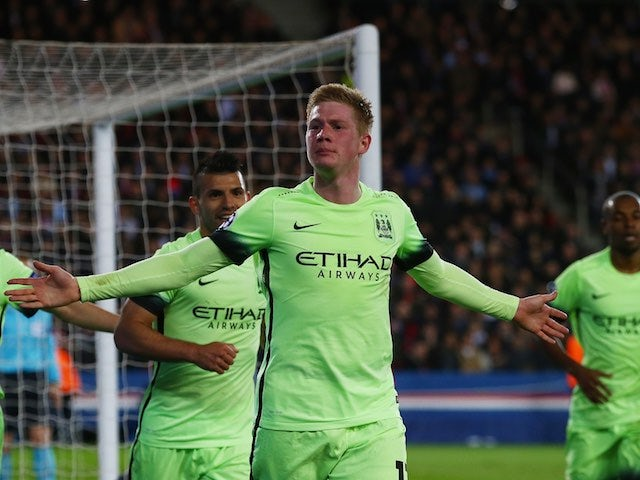 Kevin de Bruyne continues to celebrate scoring during the Champions League quarter-final between Paris Saint-Germain and Manchester City on April 6, 2016