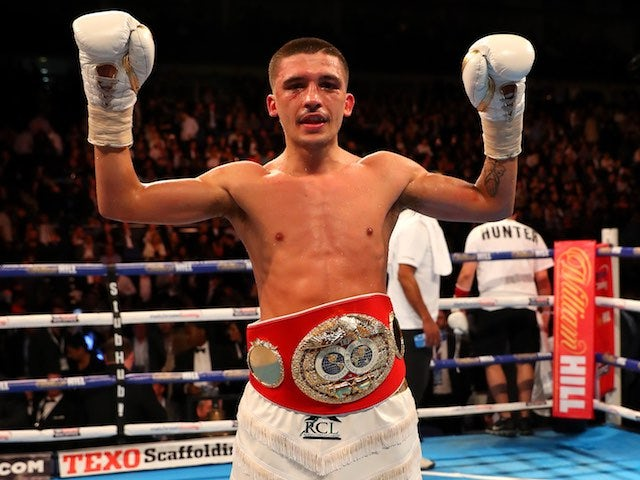 Lee Selby celebrates defeating Eric Hunter at The O2 on April 9, 2016