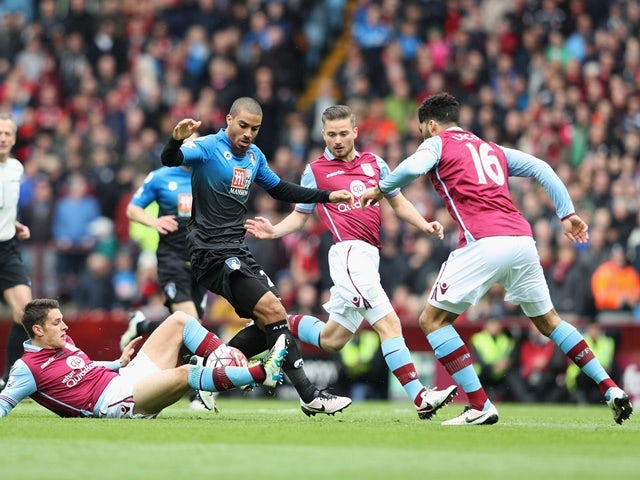 Lewis Grabban controls the ball during the Premier League match between Aston Villa and Bournemouth on April 9, 2016