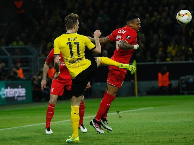 Marco Reus and Nathaniel Clyne in action during the Europa League quarter-final between Borussia Dortmund and Liverpool on April 7, 2016