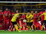 Marco Reus takes a free kick during the Europa League quarter-final between Borussia Dortmund and Liverpool on April 7, 2016