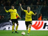 Matthias Ginter and Mats Hummels protest during the Europa League quarter-final between Borussia Dortmund and Liverpool on April 7, 2016
