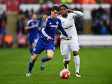 Oscar and Leroy Fer in action during the Premier League game between Swansea City and Chelsea on April 9, 2016