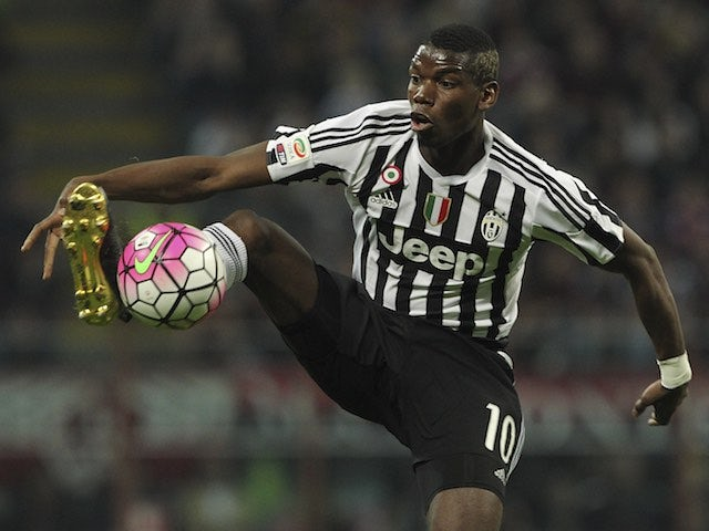 Paul Pogba in action during the Serie A game between Milan and Juventus on April 9, 2016