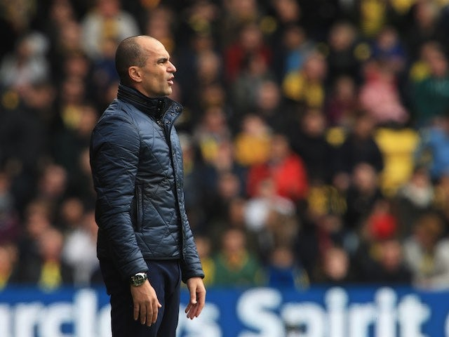 Roberto Martinez watches on during the Premier League game between Watford and Everton on April 9, 2016