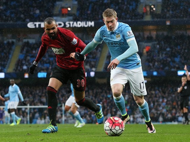 Sandro chases Kevin De Bruyne's tail during the Premier League game between Manchester City and West Bromwich Albion on April 9, 2016
