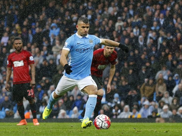 Sergio Aguero scores a penalty during the Premier League game between Manchester City and West Bromwich Albion on April 9, 2016