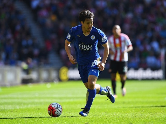 Shinji Okazaki in action during the Premier League game between Sunderland and Leicester City on April 10, 2016