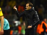 Thomas Tuchel gives instructions during the Europa League quarter-final between Borussia Dortmund and Liverpool on April 7, 2016