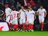 Timothee Kolodziejczak celebrates scoring with teammates during the Europa League quarter-final between Athletic Bilbao and Sevilla on April 7, 2016