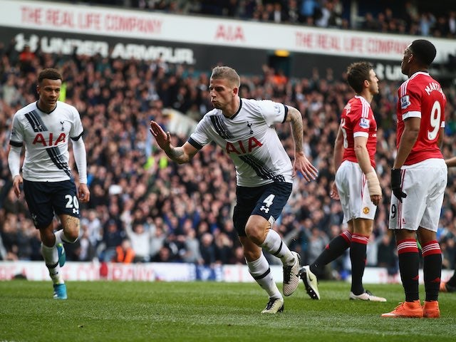 Toby Alderweireld doubles the lead during the Premier League game between Tottenham Hotspur and Manchester United on April 10, 2016
