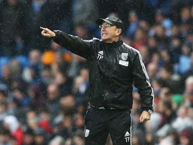 Tony Pulis calls the shots during the Premier League game between Manchester City and West Bromwich Albion on April 9, 2016