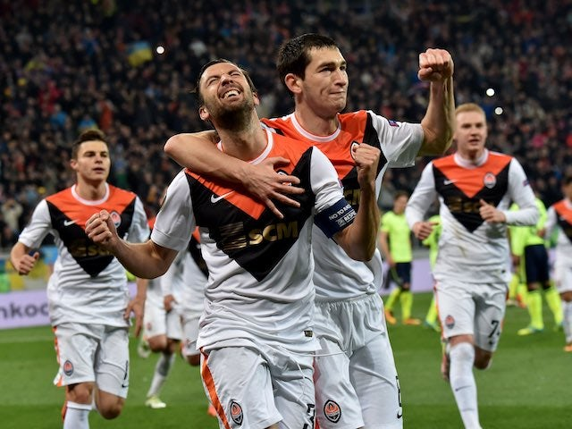 Darijo Srna celebrates scoring during the Europa League quarter-final between Shakhtar Donetsk and Braga on April 14, 2016