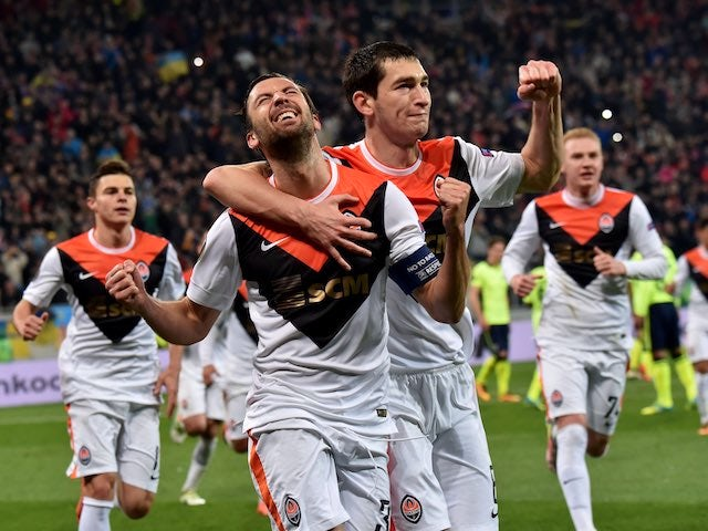 Darijo Srna celebrates scoring during the Europa League quarter-final between Shakhtar Donetsk and Braga on April 14, 2016