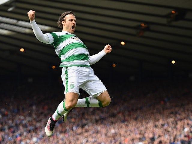 Celtic's Erik Sviachenko celebrates scoring in the Scottish Cup semi-final against Rangers on April 17, 2016