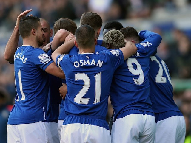 Toffees players celebrate their goal during the Premier League game between Everton and Southampton on April 16, 2016