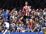 Graziano Pelle controls the ball during the Premier League game between Everton and Southampton on April 16, 2016