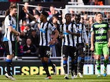 Jamaal Lascelles celebrates scoring during the Premier League match between Newcastle United and Swansea City on April 16, 2016