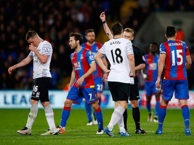 Everton's James McCarthy is sent off during the Premier League match against Crystal Palace on April 13, 2016
