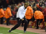 Jurgen Klopp loses his shit during the Europa League quarter-final between Liverpool and Borussia Dortmund on April 14, 2016