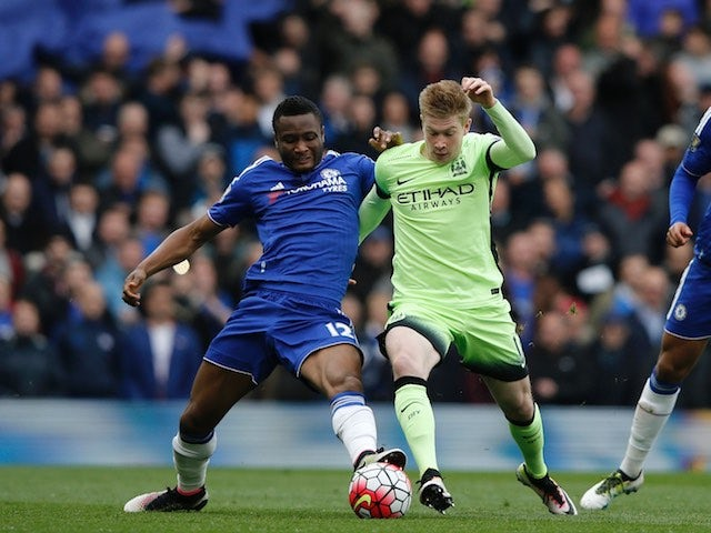 Kevin De Bruyne and John Obi Mikel in action during the Premier League game between Chelsea and Manchester City on April 16, 2016