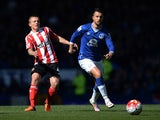 Kevin Mirallas and Jordy Clasie in action during the Premier League game between Everton and Southampton on April 16, 2016