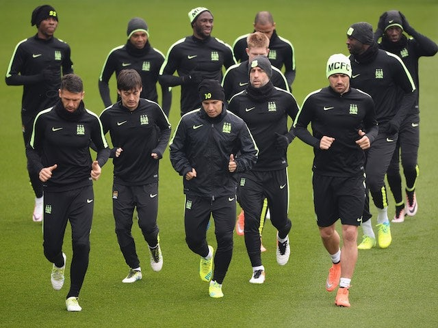 Manchester City players in training on April 11, 2016