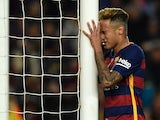 Neymar copulates with the goalpost during the La Liga game between Barcelona and Valencia on April 17, 2016