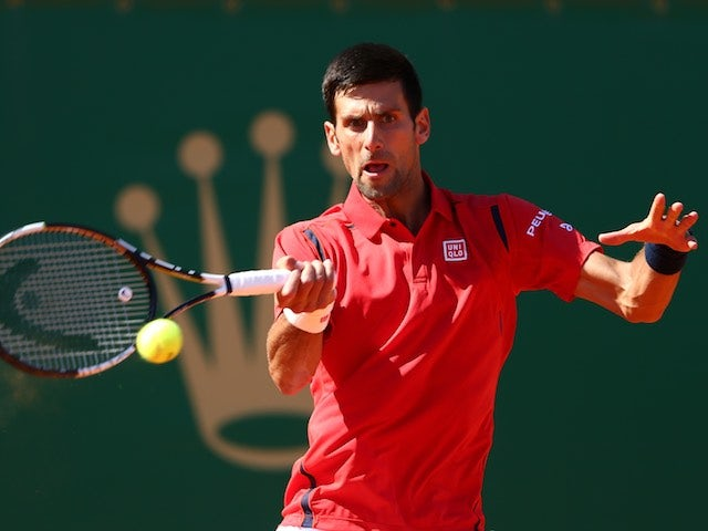 Novak Djokovic in action at the Monte Carlo Masters on April 13, 2016