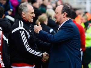 Rafael Benitez and Francesco Guidolin ahead of the Premier League match between Newcastle United and Swansea City on April 16, 2016