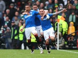 Rangers players celebrate Barrie McKay's goal in the Scottish Cup semi-final against Celtic on April 17, 2016