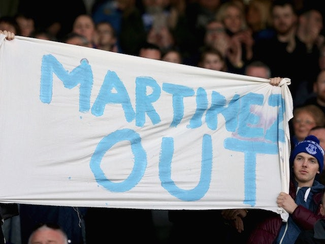 Toffees fans still want Roberto Martinez out during the Premier League game between Everton and Southampton on April 16, 2016