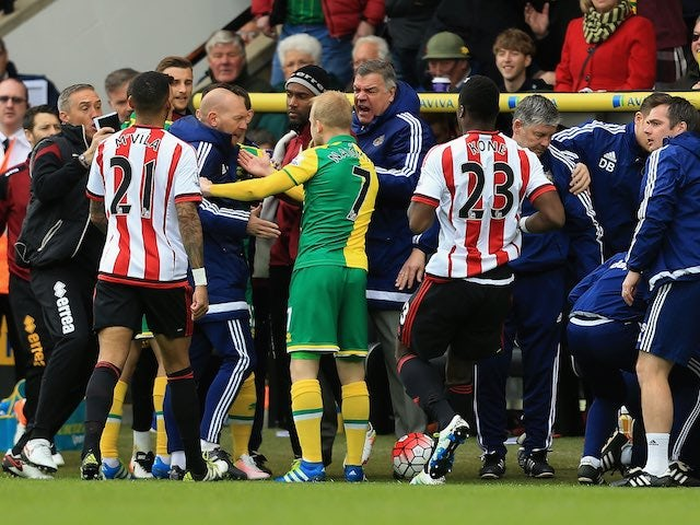 Big Sam Allardyce is taking no shit during the Premier League game between Norwich City and Sunderland on April 16, 2016