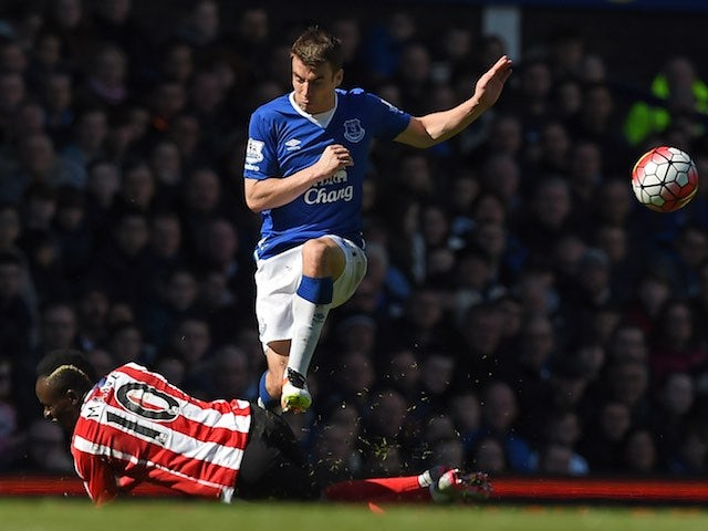 Seamus Coleman and Sadio Mane in action during the Premier League game between Everton and Southampton on April 16, 2016