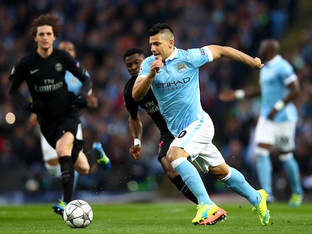Sergio Aguero is pursued by Village People fan Serge Aurier during the Champions League quarter-final between Manchester City and Paris Saint-Germain on April 12, 2016
