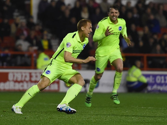 Steve Sidwell celebrates scoring his team's winning goal during the Championship match between Nottingham Forest and Brighton & Hove Albion, April 11, 2016