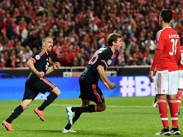 Thomas Muller celebrates scoring during the Champions League quarter-final between Benfica and Bayern Munich on April 13, 2016
