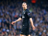 Zlatan Ibrahimovic in action during the Champions League quarter-final between Manchester City and Paris Saint-Germain on April 12, 2016