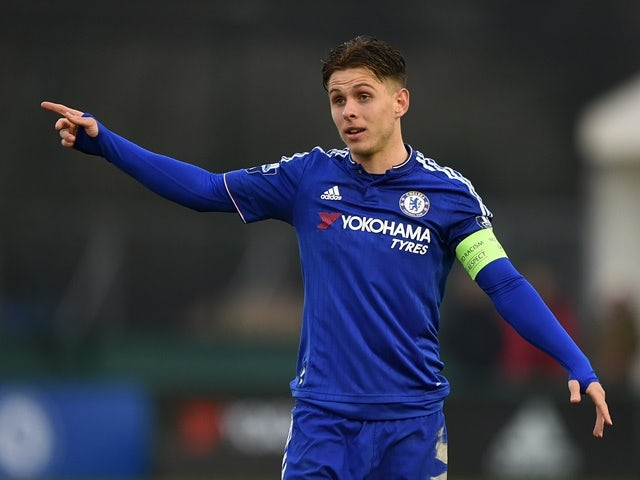 Charlie Colkett of Chelsea in action during the UEFA Youth League quarter final match against Ajax at Chelsea Training Ground on March 15, 2016