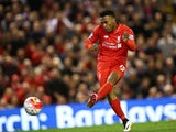 Daniel 'damn, back at it again with the white vans' Sturridge scores the third during the Premier League game between Liverpool and Everton on April 20, 2016