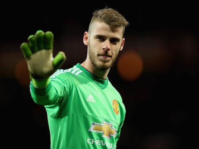 David De Gea answers a personal question during the Premier League game between Manchester United and Crystal Palace on April 20, 2016
