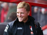 Eddie Howe looks on during the Premier League game between Bournemouth and Chelsea on April 23, 2016