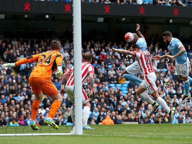 Fernando scores the opener during the Premier League game between Manchester City and Stoke City on April 23, 2016