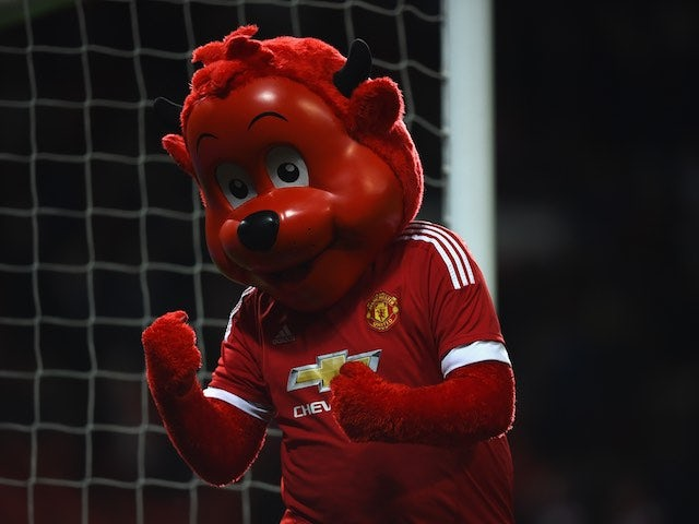 Fred The Red, who is red and called Fred, celebrates during the Premier League game between Manchester United and Crystal Palace on April 20, 2016