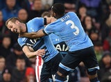 Harry Kane is strangled after scoring during the Premier League game between Stoke City and Tottenham Hotspur on April 18, 2016