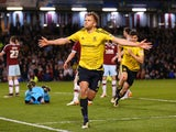Jordan Rhodes WHEELS away after opening the scoring for Middlesbrough in their Championship clash with Burnley at Turf Moor on April 19, 2016
