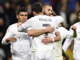 Karim Benzema celebrates scoring with Cristiano Ronaldo during the La Liga game between Real Madrid and Villarreal on April 20, 2016