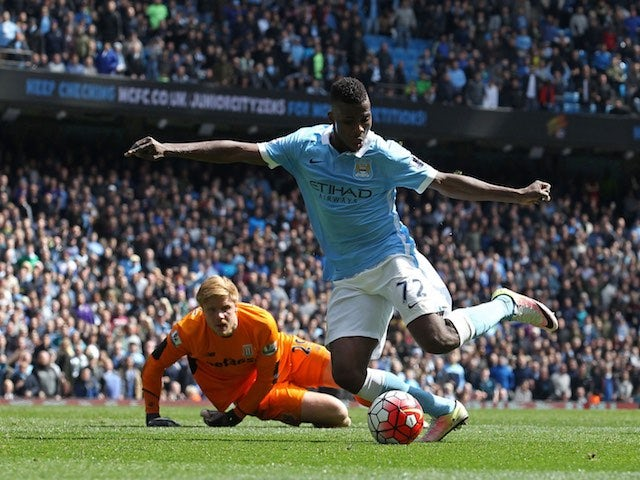 Kelechi Iheanacho scores the fourth during the Premier League game between Manchester City and Stoke City on April 23, 2016