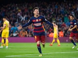 Lionel Messi celebrates scoring the opener during the La Liga game between Barcelona and Sporting Gijon on April 23, 2016