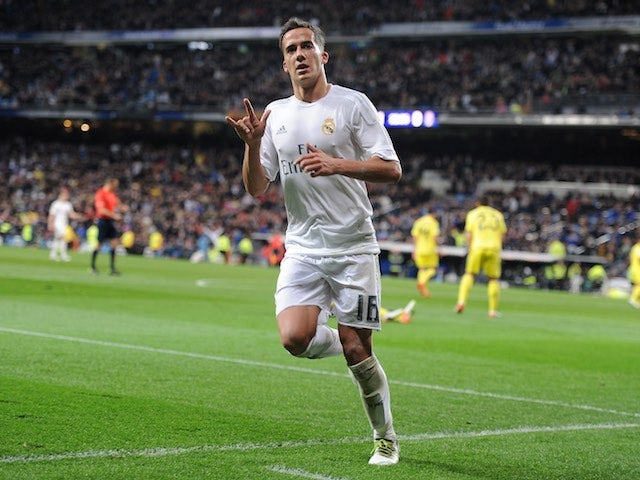 Lucas VAZQUEZ celebrates getting on the scoresheet during the La Liga game between Real Madrid and Villarreal on April 20, 2016